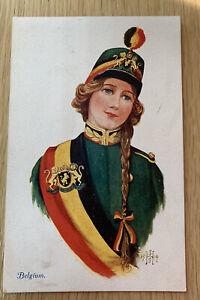 WW1 Patriotic Postcard. Belgium 🇧🇪 National Dress. The Allies.