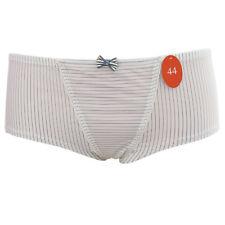 Lisca Cheek Dandy Short Panty Hipster 44 XL Microfaser Weiß Nadelstreifen Grau