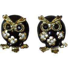 Black Gold Owls Stud Earrings Women Teen Fashion Cute Jewelry Ladies Rhinestone