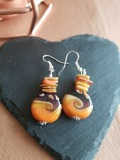 Lampwork drop dangle, silver plated earrings, orange  20mm assorted beads (437)