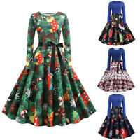Plus Size Womens Lace Floral Christmas  Dress Ladies Bowknot Party Dress