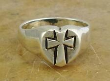 HIGH POLISH STERLING SILVER CROSS in HEART RING size 9  style# r0220