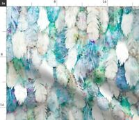 Blue Feathers Watercolor Impressionist Tribal Spoonflower Fabric by the Yard