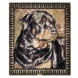 2'x2' Rottweiler Dog Design Hand Knotted Silk Tapestry Small Rug Decoration Wall