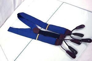 Paul Stuart USA Blue Silk Mens Luxury Leather Fitting Adjustable Suspenders