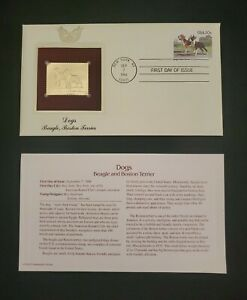 1984 Golden Replicas of US Stamps - Dogs - Beagle & Boston Terrier  20c