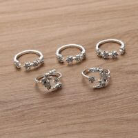 Set of 5 Rings Boho Knuckle Fashion Star Moon Love Diamond Thumb Stack Jewelry