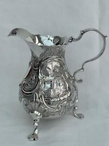 Superb Georgian Sterling Silver Cream Jug By William Coles London 1744.