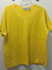 Basic Editions plus size 1X short sleeve tee SHIRT bright YELLOW EUC