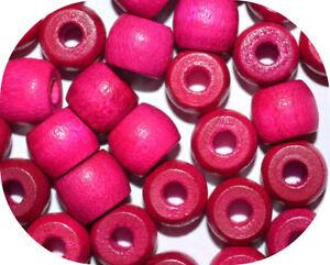 20 Pink 10mm Barrel Wood Wooden Beads Hair Braids Dreads Hole 3mm