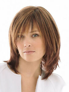 100% Human Hair Natural Short Straight Light Brown Fashion Women's Wig