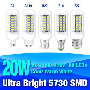 B22/E27/G9 Ultra Bright 5730SMD LED Corn Bulb Lamp Cool/Warm White 110/220V 20W