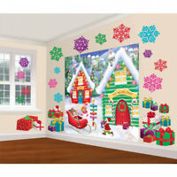 North Pole Santas Workshop Christmas Room  Wall Scene Party Kit Decoration
