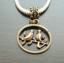Kissing Birds Bronze Tone Dangle Charm Bead For European Style Bracelet