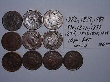 INDIAN HEAD penny SMALL CENT 1882,1884,1887,1890,1892,1893,1897-99, 10 PC LOT #A