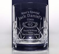 Personalised JACK DANIELS BIRTHDAY Crystal Glass Tumbler Gift 18th/21st/40th/Men