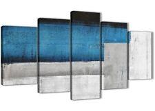 5 Pannello Blu Grigio Pittura Astratta Tela Arredamento ufficio - 5423 - 160 cm