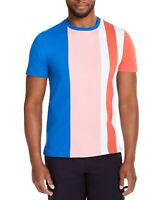 Club Room Mens T-Shirt Pink Blue Size 2XL Colorblocked Striped Crewneck Tee 341