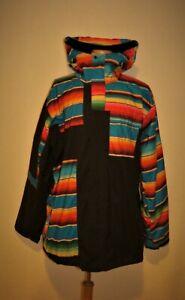 BONFIRE Snowboard Ski Hooded Jacket Coat Black/ Poncho Multicolor Mens 2XL XXL