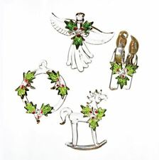 "Glass Holly Wreath Angel Candle Horse Christmas 3"" Ornament Set 4 Kurt Adler"