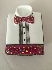 Parry Vieille Polka Dotted  Limoges Tuxedo Shirt Trinket Box France Handpainted