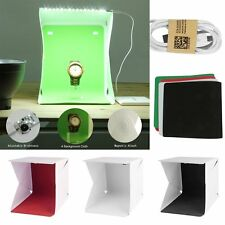 "26LED Light Box Photo Studio Photography 9"" Tent+White/Black/Red/Green Backdrop"