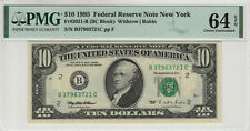 1995 $10 FEDERAL RESERVE NOTE NEW YORK FR.2031-B BC BLOCK PMG UNC 64 EPQ (721C)