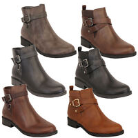 Ladies Chelsea Boots Womens Leather Look Biker High Ankle Buckle Shoes Winter