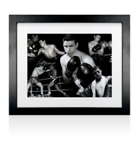 Framed Terry Downes Signed Photo - Boxing Montage Black/White Autograph