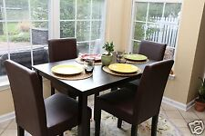 5pc Espresso Dining Room Kitchen Set Table 4 BROWN Leather Parson Chairs 5 piece