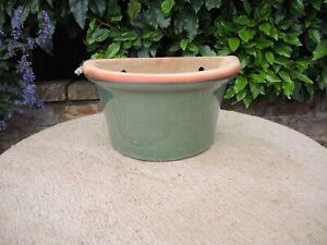 Green Blue Glazed Wall Planter  Plant Pot   33 cm Long  (630)