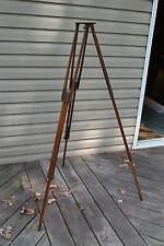 Antique Wood Surveyor's Surveying Transit Level Tripod Lamp Base Repurpose
