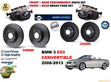 POUR BMW 330D E93 cab 07-13 Avant ET ARRIÈRE performance Disques De Frein Fixés + Plaquettes KIT
