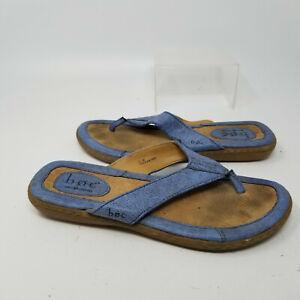 B.O.C. Born Blue Leather Strap Slip On Thong Open Toe Sandal Slides Women Size 7