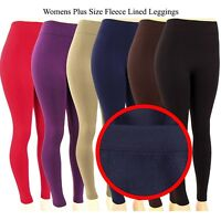 Womens Plus Size Fleece Lined Leggings Warm Thick Winter Stretch Basic 1X 2X 3X