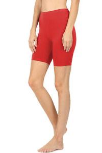Womens Cotton Spandex Solid Biker Shorts Yoga Mid Thigh Bermuda Leggings