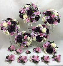 Artificial Silk Dusty Purple/Pink/Cream Rose/Tulip/Hydreangea Bridal Bouquet.
