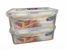 LOCK & LOCK Airtight Plastic Containers 1Litre Pack of 2 HPL817 Rectangular