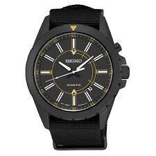 *BRAND NEW* Seiko Men's Analog Automatic Kinetic Black Nylon Strap Watch SKA705