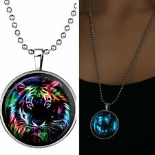 Colorful Animal Tiger Glow In Dark Pendant Necklace Stainless Steel Long Chain