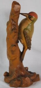 VTG LARGE ANRI Woodpecker Bird WOOD CARVED FIGURINE 9""