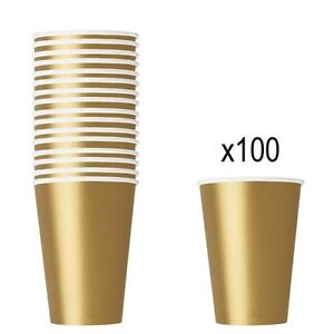 GOLD PAPER CUPS - Pack of 100 - 266ml Birthday Party Picnic Catering Tableware
