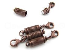 20 Magnetic Clasp Converters - Spiral Style + Lobster Clasp - Antique Copper