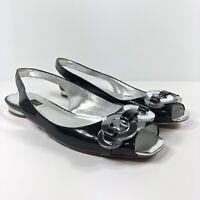 Rafe New York Black Patent Leather Slingback Peep Toe Shoes Mirror Accent Sz 8.5