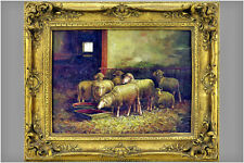 Gorgeous Flemish School sheep animal oil panel painting signed 1960's