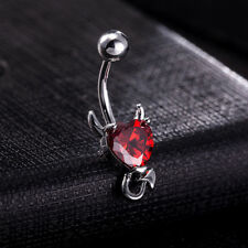 Button Ring for Women Piercing Jewelry Lady Funny Devil Navel Ring Crystal Belly