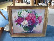 ancien tableau peinture pivoines aneth en fleurs signé Guiseppin Jean vintage