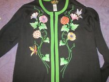 BOB MACKIE Art Deco EMBROIDERED Floral BUTTERFLIES Soft ACRYLIC Sweater Cardi M