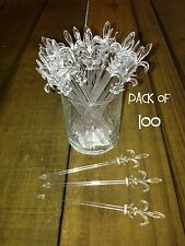 """Pack of 100 Fleur de Lis Pick 4"""" CLEAR / Cocktail, Party, Food, Olive Toothpick"""