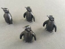 4 Black Penguins, Miniatures, Approx. Height-16mm, Pets & Animals. 1.12th Scale